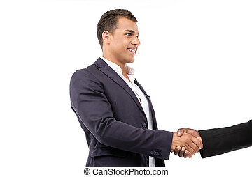 Perfect partnership - Businessman shaking hands Isolated on...