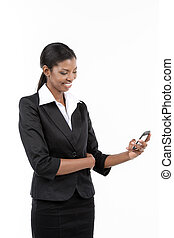 Businesswoman Using Smart Phone - Portrait of a smiling...