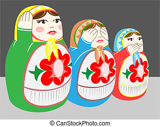 russian dolls - hear no evil,see no evil, speak no evil\'