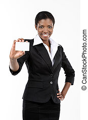 Woman showing business card - African American woman showing...