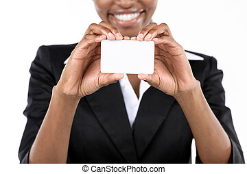 Businesswoman holding business card - African American...