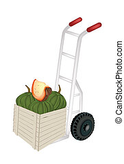 Hand Truck Loading Green Pumpkins in Shipping Box - Hand...