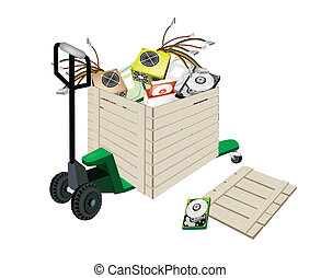 Pallet Truck Loading Hardware Computer in Shipping Box -...