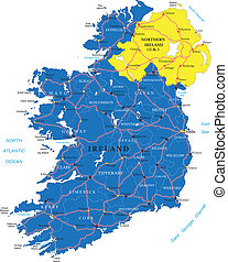 Ireland map - Highly detailed vector map of Ireland with...