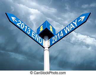 2013 end and 2014 way signs - Street post with 2013 end and...