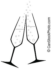 Celebration Drink - Two charged champagne glass with bubbles...