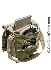 bag - The camera, lens, flash and laptop in a bag