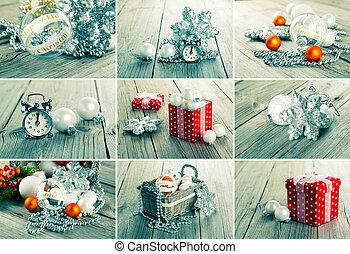 collage, boże narodzenie, Fotografie, na, szary, drewno, tło