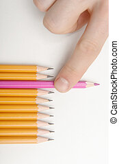 Take the pink pencil - Choosing the unique pink colored...