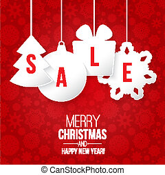 Christmas sale on red background vector illustration
