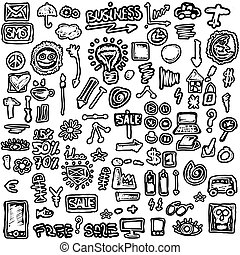 doodles set business icons