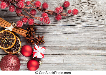 Christmas decoration on wood background, with free space for...