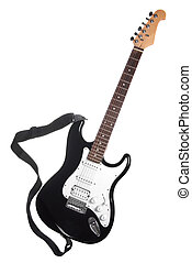 black and white electric guitar with the belt isolated on...