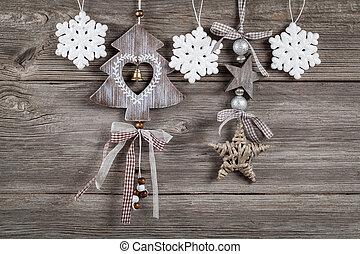 Natal, decoração, madeira, fundo, livre,...