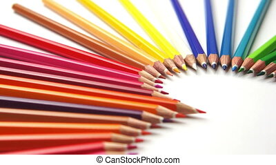 Pencil Crayon Heart Dolly - Dolly macro shot of colored...