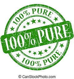 100 Pure grunge green round stamp