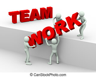 3d people - concept of team work - 3d illustration of men...