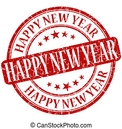 Happy new year grunge red round stamp