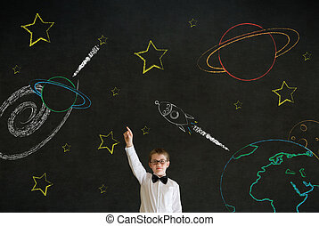 Hand up answer boy business man with chalk universe planet...