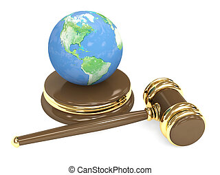Judicial 3d gavel and Earth Objects over white
