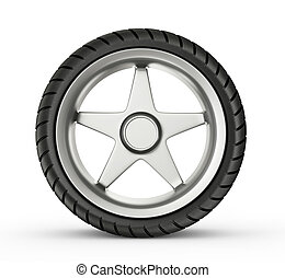 wheel - steel tire  isolated on a white background