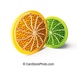 citrus - slice citrus isolated on a white background