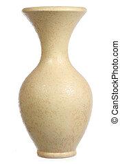 amarela, Cerâmico, vaso, isolado, branca
