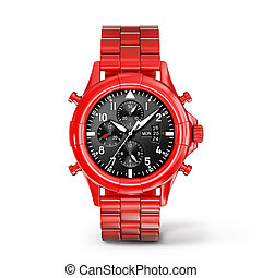 watch - red watch isolated on a white background