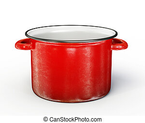 saucepan - red saucepan isolated on a white background