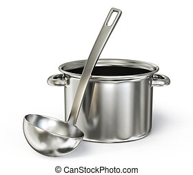 saucepan with  ladle isolated on a white background