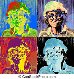 Pop art - Andy Warhol inspired art work of a goofy woman...