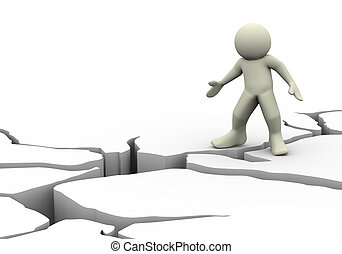 3d man and earth crack - 3d illustration of man and detailed...