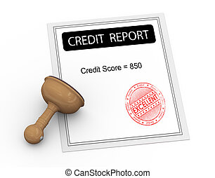 3d excellent credit score report - 3d illustration of credit...