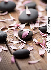 Treatment spa. - Spa stones with flower petals. Relaxing...