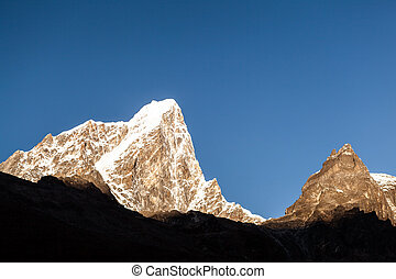 Mountains sunset landscape, Nepal - Taboche mountain in...