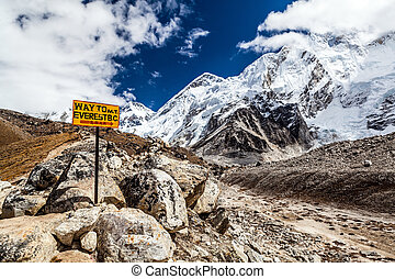 Mount Everest signpost - Footpath to Mount Everest Base Camp...