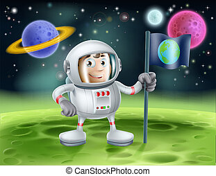 Astronaut Outer Space Cartoon - An illustration of an outer...
