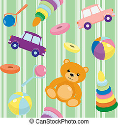 Striped seamless pattern with toys