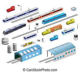 Railroad equipment - Isometric set of railroad equipment on...