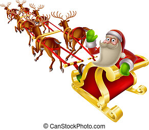 Santa Christmas Sleigh - Cartoon Santa in his Christmas...