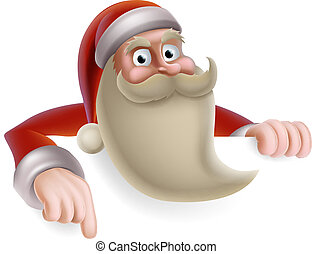 Santa Christmas Sign - Cartoon Christmas illustration of...