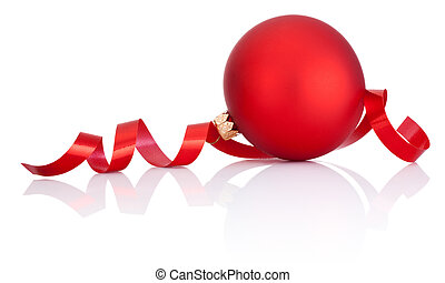 Red Christmas ball and curling paper Isolated on white...