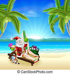 Santa Relaxing on Hot Sunny Beach - Santa Christmas...