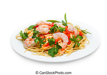 Spaghetti with Seafood , isolated on white