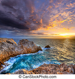 Menorca Punta Nati sunset in Balearic Islands - Menorca...