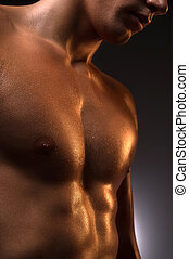 Muscular man. Close-up of muscular man standing isolated on...