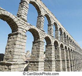 aqueduct - view of the aqueduct of Segovia, Castilla Leon,...