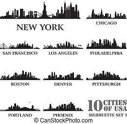 Silhouette city set of USA 1 Vector illustration