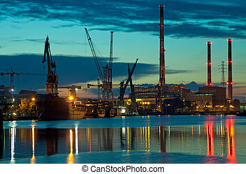 Industrial view at sunset