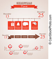 three christmas season time line templates with seasonal...